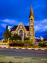 Namibia, Windhoek, Christ church, national monument, at blue hour - AMF004872