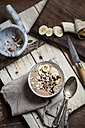 Smoothie bowl with bananas, roasted hazelnuts and other ingredients - SBDF002876