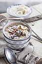 Smoothie bowl with bananas, roasted hazelnuts and other ingredients - SBDF002882