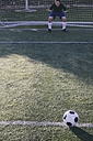 Football in front of a goal with a goalkeeper - ABZF000458