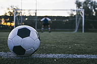 Football in front of a goal with a goalkeeper - ABZF000473