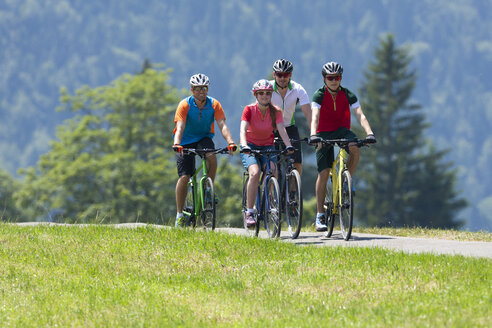 Four people on a bicycle tour with trekking bikes - DSF000652