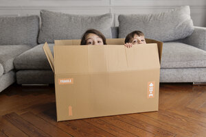 Two little children hiding together in a cardboard box at home - LITF000297