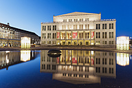 Germany, Leipzig, view to lighted opera at twilight - GWF004693