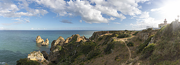 Portugal, Algarve, Lagos, Ponta de Piedade, way at cliff coast to grotto - FRF000409