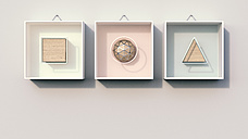 Geometric shapes hanging on wall, 3d rendering - AHUF000158