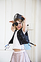 Portrait of excited little girl dressed up as a pirate - LVF004880