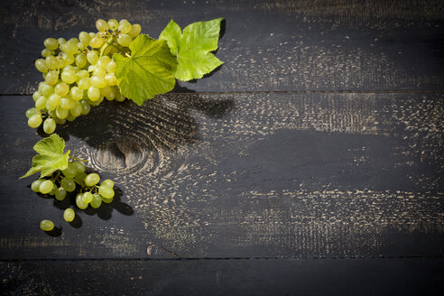 Green grapes on dark wood - MAEF011701