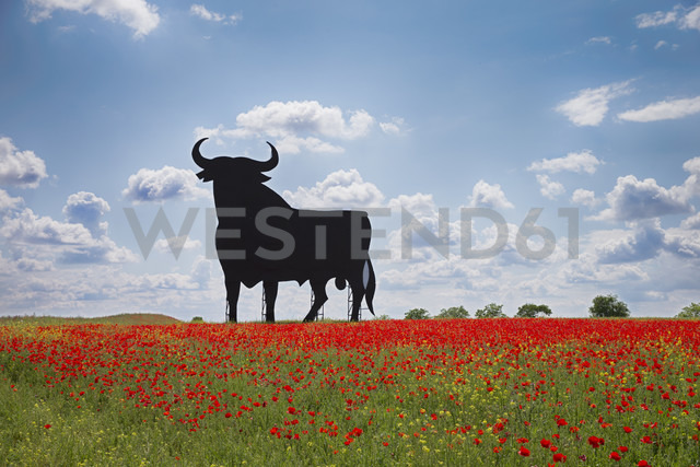Bull shaped sign in poppy field, Spain, Toledo - ERL000172 - Enrique Ramos/Westend61