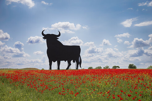 Bull shaped sign in poppy field, Spain, Toledo - ERL000172