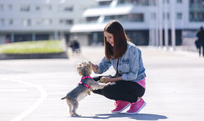 Young woman playing with her Yorkshire Terrier - MGOF001840