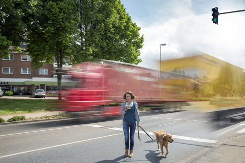Woman with smartphone and dog crossing a road - FRF000437