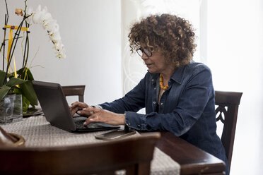 Woman using laptop at home - MAUF000642
