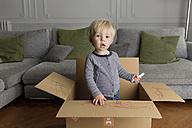 Portrait of toddler with marker standing in a cardboard box - LITF000337
