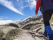 Spain, Sierra de Gredos, man hiking in mountains - LAF001627