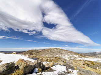 Spain, Sierra de Gredos, clouds above mountainscape - LAF001630