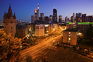 Germany, Hesse, Frankfurt, Eschenheim Tower left, financial district in the evening - FCF000953