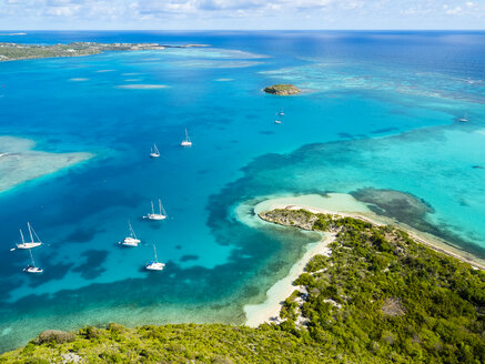 West Indies, Antigua and Barbuda, Antigua, aerial view, Green Island, Green Bay - AMF004921