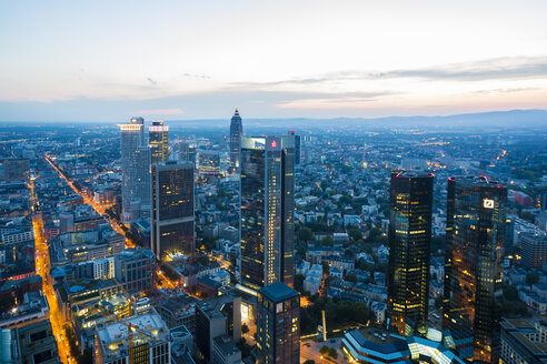 Germany, Frankfurt, city view from above by sunset - TAM000482