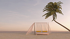 Palm tree and canopy bed on the beach at dusk, 3D rendering - UWF000887