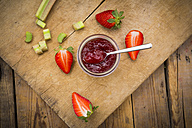 Glass of homemade strawberry rhubarb jam - LVF004896