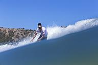 Indonesia, Sumbawa island, Surfer - KNTF000293