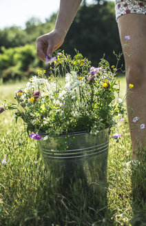 Woman's hand touching blossom of wildflowers in a bucket - DEGF000816