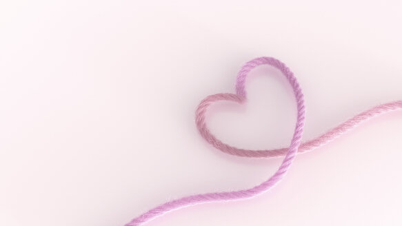 Heart shaped of pink thread, 3D Rendering - AHUF000169