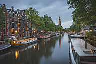 Netherlands, Amsterdam, Prince's Canal and Westerkerk in the background - KEBF000387