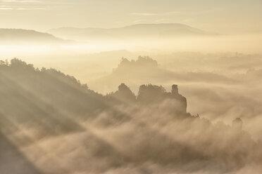 Germany, Saxony, Elbe Sandstone Mountains, Honigsteine and Talwaechter in the fog - RUEF001709