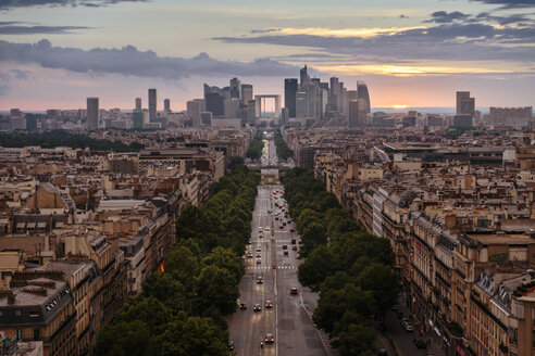 France, Paris, La Defense and cityscape at sunset - LCU000015
