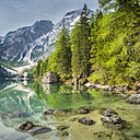 Italy, South Tyrol, Dolomites, Fanes-Sennes-Prags Nature Park, Lake Prags with Seekofel - STSF001016