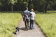 Back view of grandfather walking with grandson and dog in nature - UUF007589