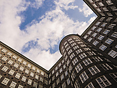 Germany, Hamburg, courtyard of Chile house seen from below - KRP001758