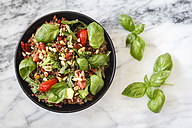 Salad made of rice, lentils, different vegetables and roasted pine nuts - EVGF002974