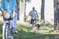 Senior man walking his dog in forest - ZEF008702