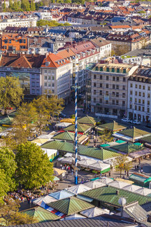 Germany, Munich, view to Viktualienmarkt from above - WDF003637