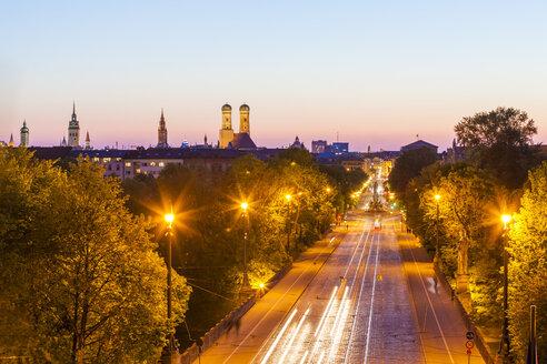 Germany, Munich, view to Maximilianstrasse at twilight - WDF003643