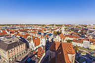 Germany, Munich, view to the old town with Heilig-Geist-Kirche and old city hall - WDF003646