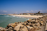 Spain, Andalusia, Tarifa, Beach of Los Lances, with the castle of Santa Catalina and the city in background - KIJF000440