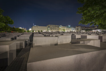 Germany, Berlin, Holocaust memorial at night - NK000465