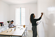 Young businesswoman preparing meeting, writing on wall, colleague working in backgound - EBSF001437