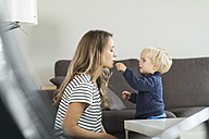 Mother and son at home with lipstick - SBOF000110