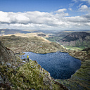 England, Cumbria, Lake District, Langdale, Pavey Ark and Stickle Tarn, Jack's Rake, climber - ALRF000549