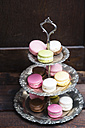 Different macarons on an etagere - MYF001523
