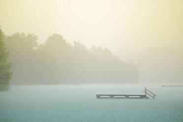 Germany, Bavaria, Burghausen, summer rain at Woehrsee, bathing jetty - HAMF000209