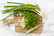Chopped and whole spring onions on wooden board - SARF002781