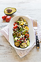 Courgette salad with avocado, lentils, spring onions and cheese - SARF002784