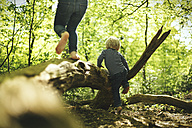 Two children playing in forest - SBOF000140