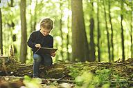 Girl in forest using digital tablet - SBOF000161
